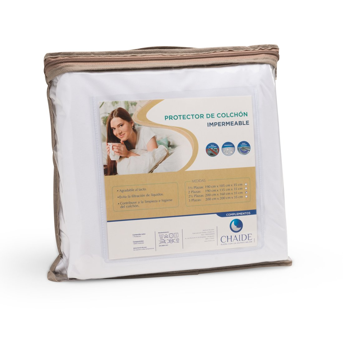 Protector De Colchón CHAIDE Impermeable 1 y Media Plazas Blanco