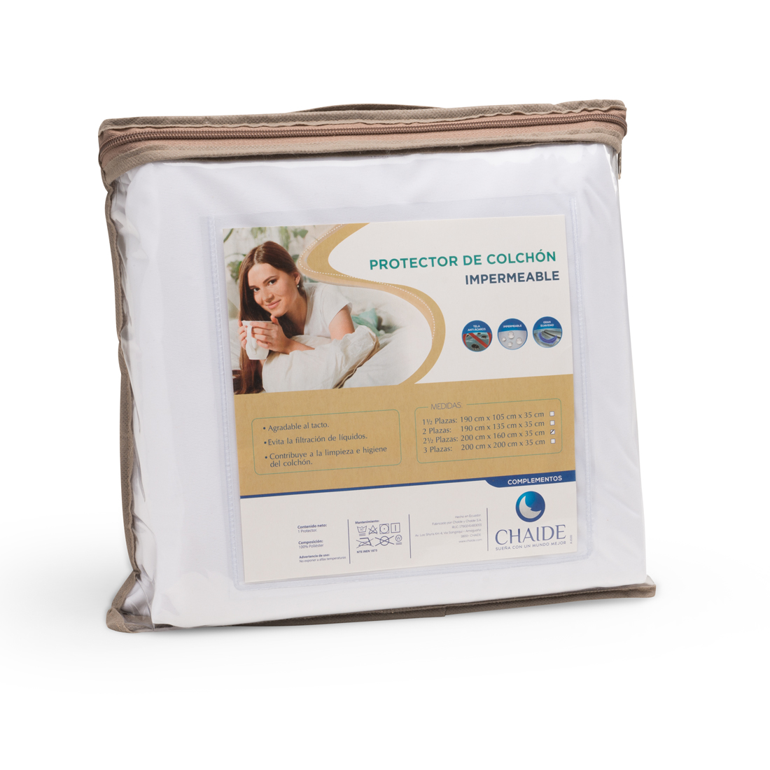 Protector De Colchón CHAIDE Impermeable 2 y Media Plazas Blanco