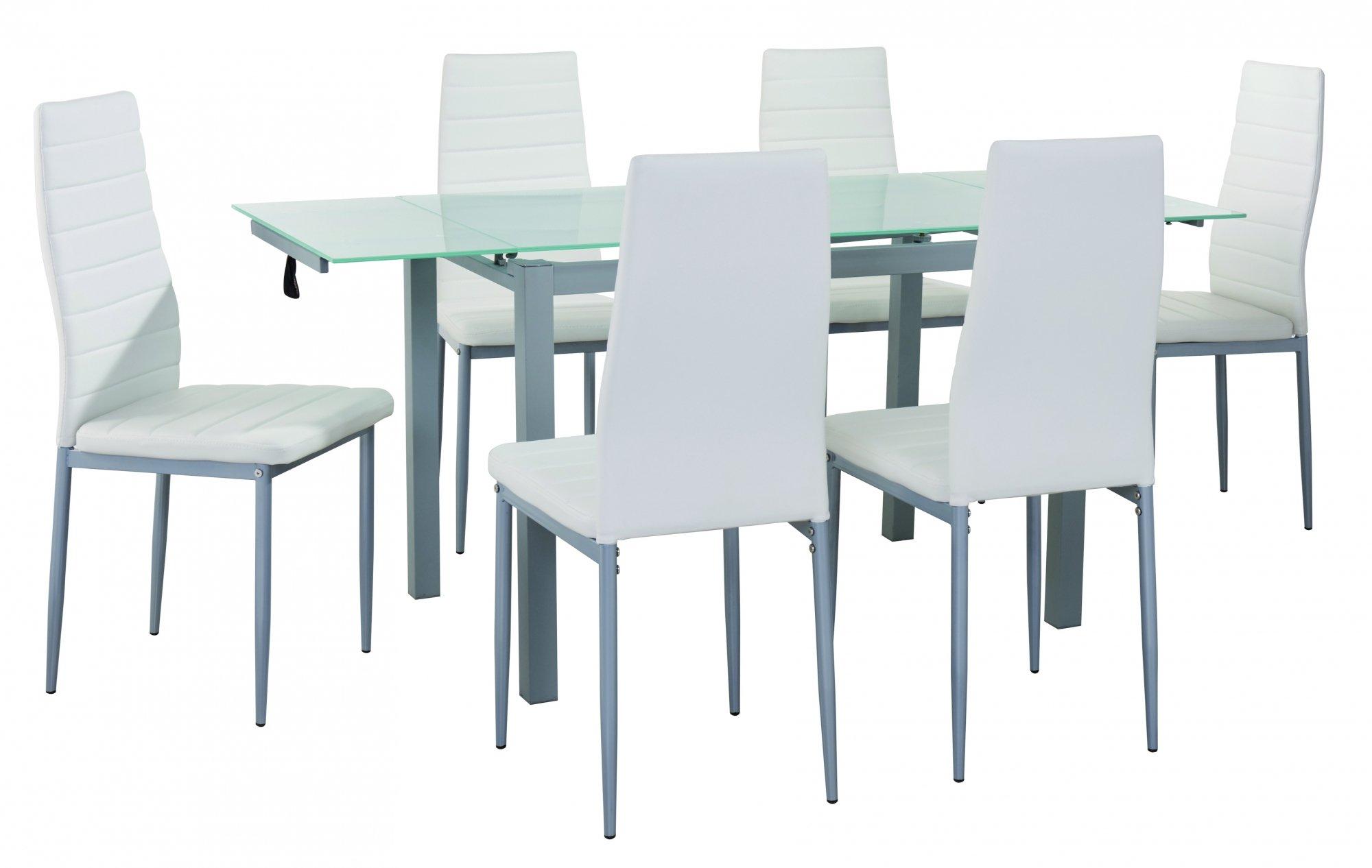 ▷ Juego de comedor Gisborne con mesa de vidrio + 6 sillas