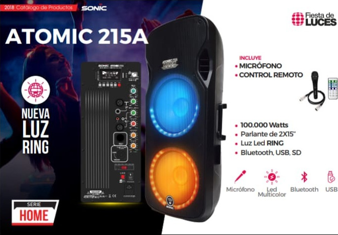 Parlante SONIC ATOMIC C215A 100.000 Watts Luz led