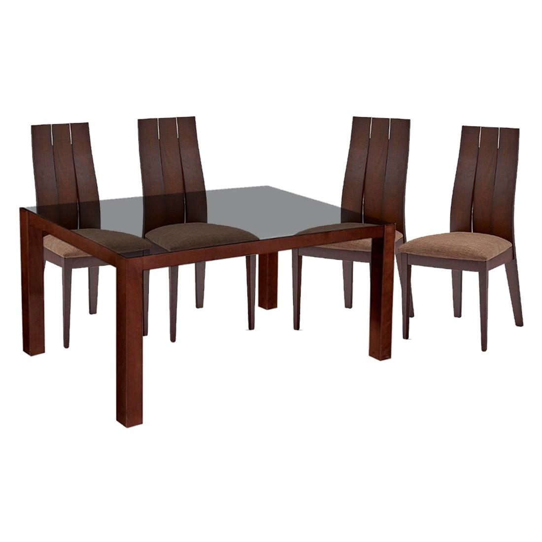 Mesa Comedor Richard con 4 Sillas Café