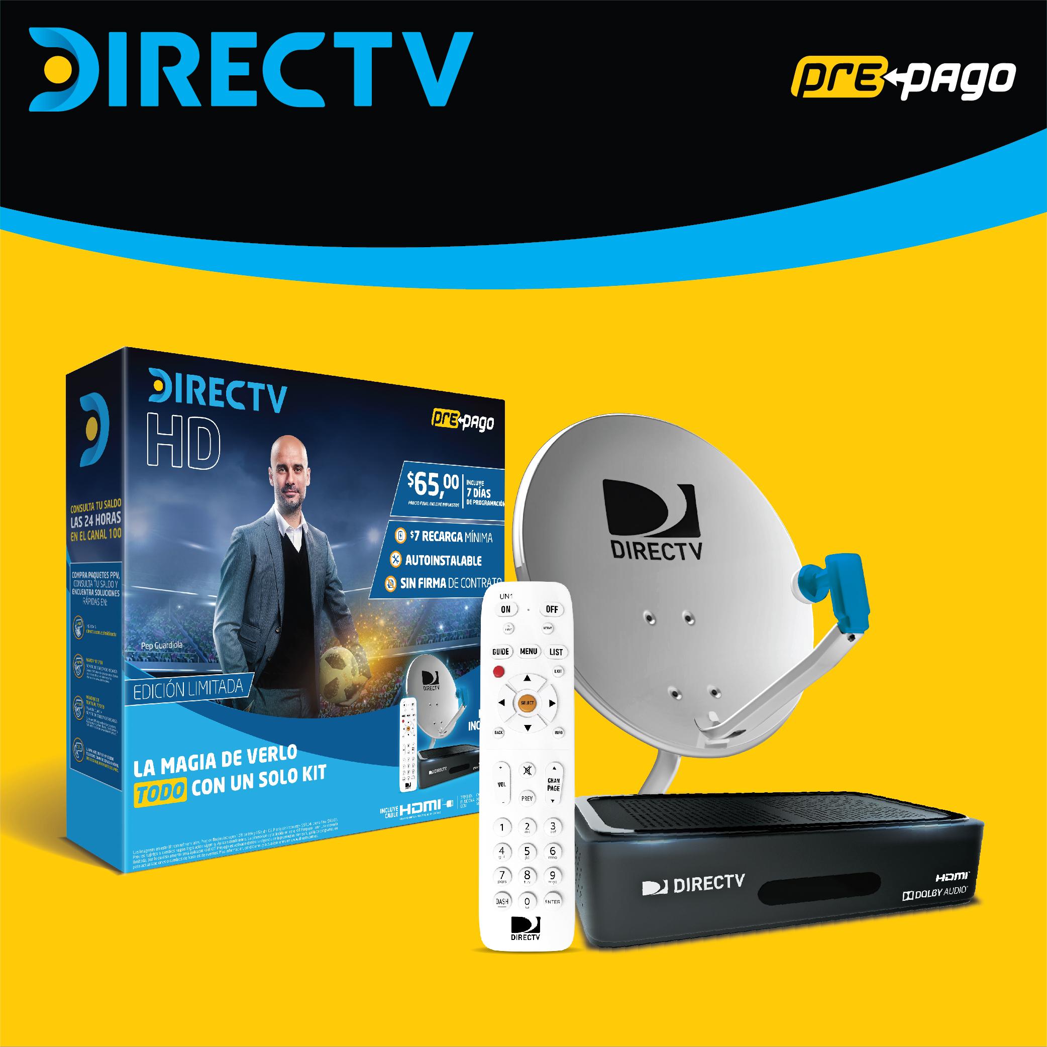 KIT PREPAGO DIRECTV HD INCLUYE ANTENA-DECODIFICADOR-HD Y TI