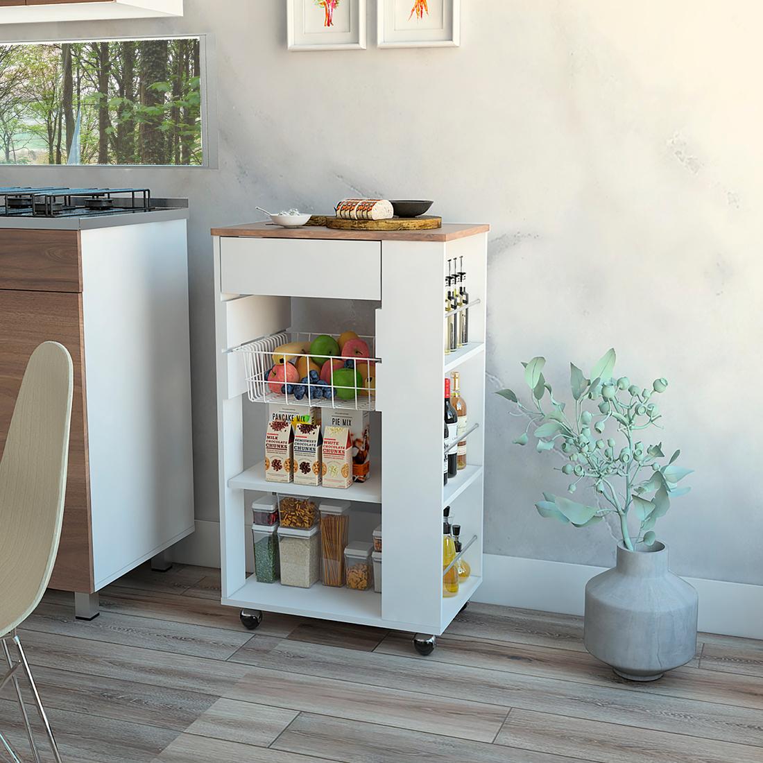▷ Mueble Auxiliar de Cocina BLOSSOM Color Blanco