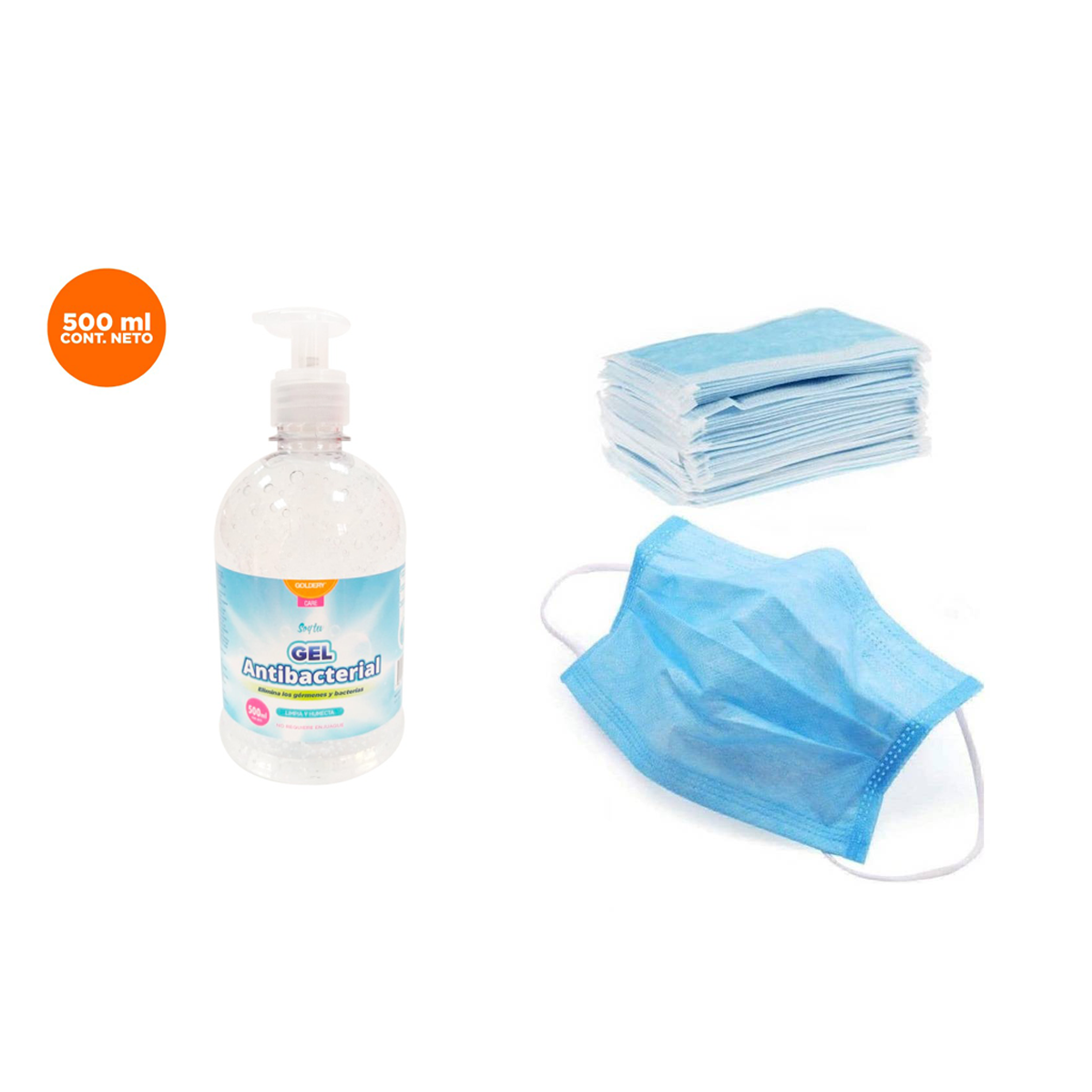 COMBO: Gel Antibacterial 70% Alcohol 500 ml + Pack de mascarilla triple capa x 50 Unidades