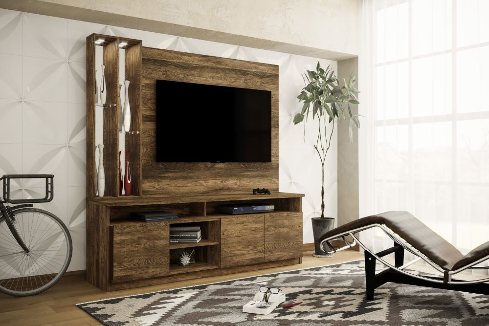 Mueble Home Theater OPERA Color Canela-Rústico para TV de Hasta 51 Pulgadas